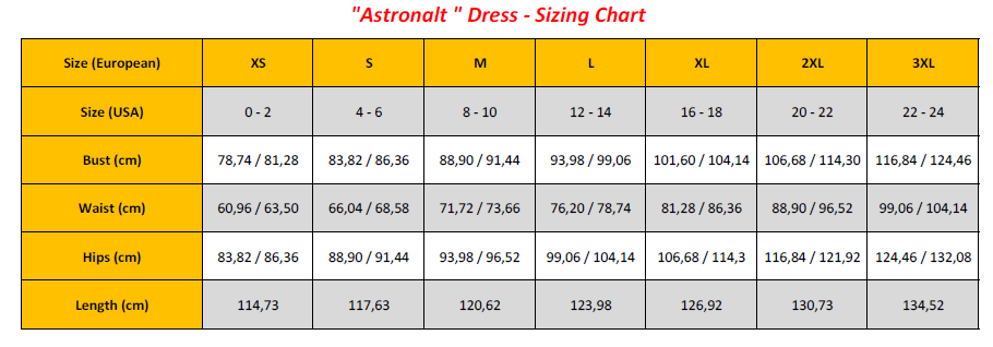 Astronalt Dress - Sizing Chart (GB)
