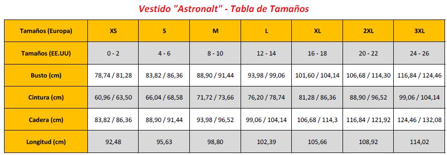 Astronalt Dress - Sizing Chart (ES)
