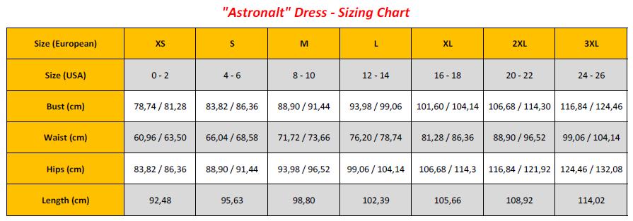 Astronalt Dress - Sizing Chart (GB)