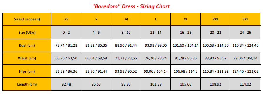 Boredom Dress - Sizing Chart (GB)