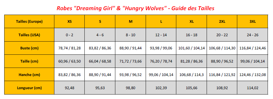 Dreaming Girl & Hungry Wolves Dresses - Sizing Chart (FR)
