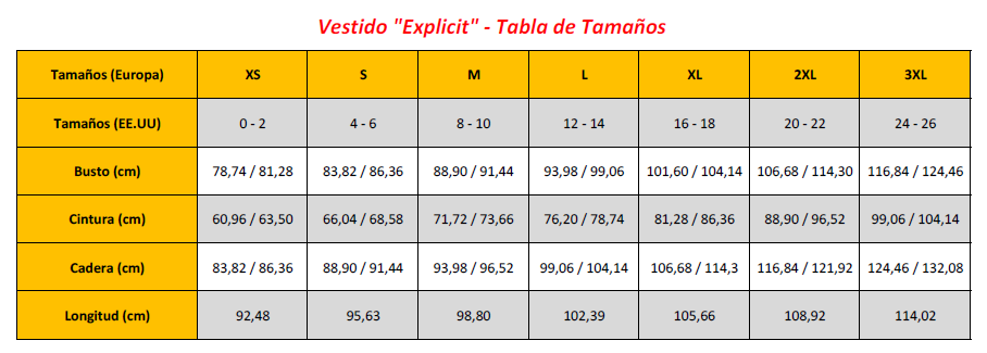 Explicit Dress - Sizing Chart (ES)