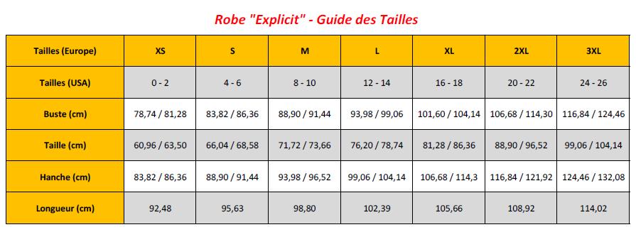 Explicit Dress - Sizing Chart (FR)