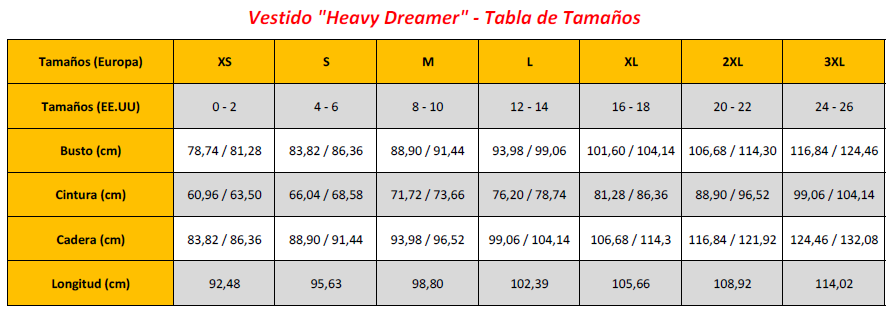 Heavy Dreamer Dress - Sizing Chart (ES)