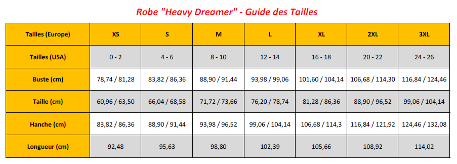 Heavy Dreamer Dress - Sizing Chart (FR)