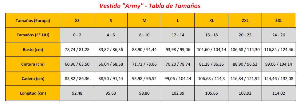 N7 - Army Dresses - Sizing Chart (ES)