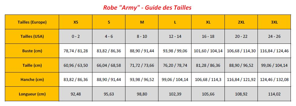 N7 - Army Dresses - Sizing Chart (FR)