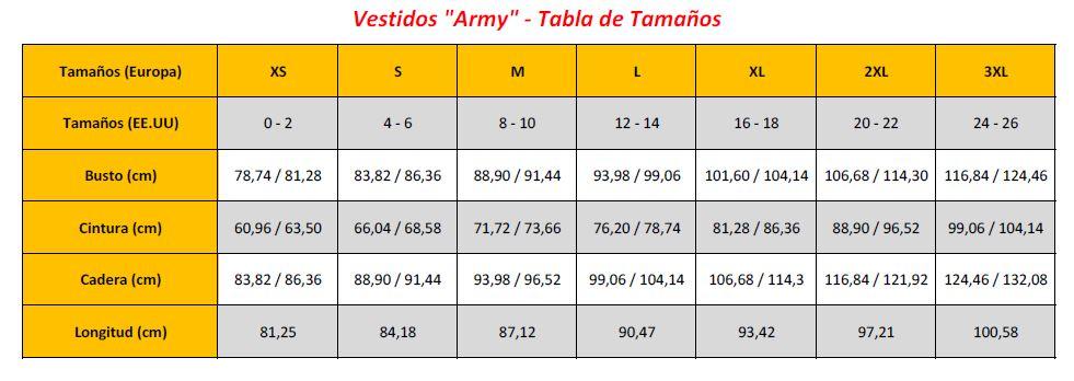 N9 - Army Dresses - Sizing Chart (ES)