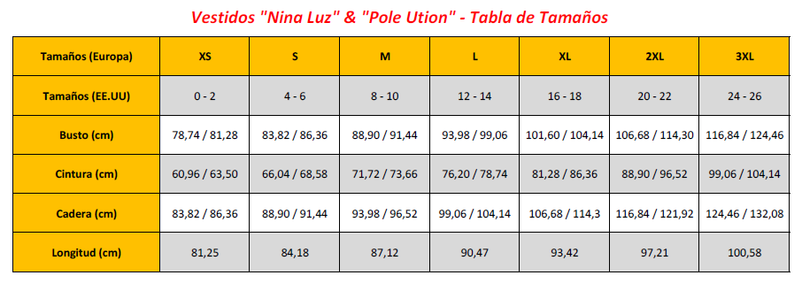 Nina Luz & Pole Ution Dresses - Sizing Chart (ES)
