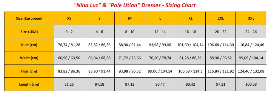 Nina Luz & Pole Ution Dresses - Sizing Chart (GB)