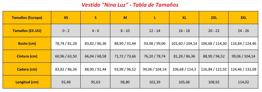 Nina Luz' Dress - Sizing Chart (ES)