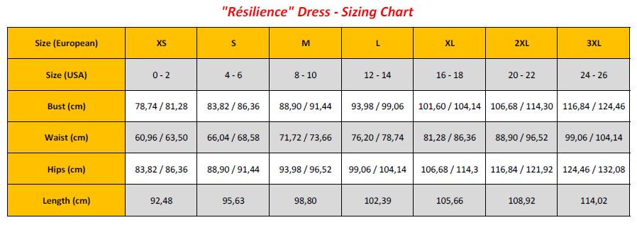 Résilience Dress - Sizing Chart (GB)