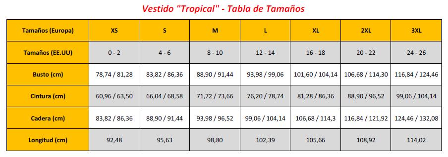 Tropical Dress - Sizing Chart (ES)
