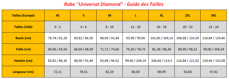 Universal Diamond Dress - Sizing Chart (FR)