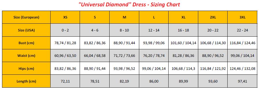 Universal Diamond Dress - Sizing Chart (GB)